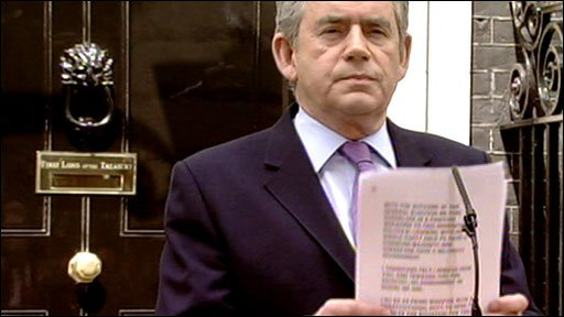 Gordon Brown addresses reporters