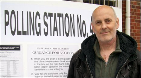 Liam McCarthy at his polling station