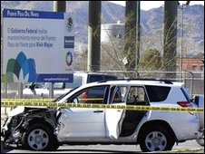 Wrecked car of murdered US consular staff in Ciudad Juarez