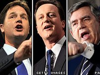 Nick Clegg, David Cameron, Gordon Brown