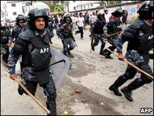 Riot police in Nepal