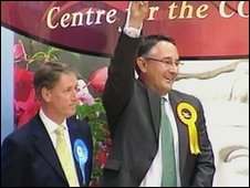 Martin Horwood (r) standing next to Conservative candidate  Mark Coote