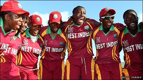 The West Indies team celebrate a win which puts them into the semi-finals