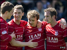 Aberdeen players celebrating a goal against St Mirren