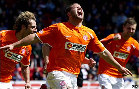 James Wesolowski celebrates his goal