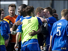 Cowdenbeath celebrate their win at Recreation Park