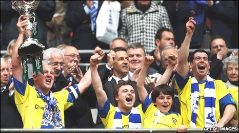 Barrow celebrate winning the FA Trophy