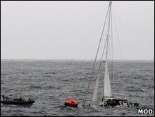 The stricken yacht Hollinsclough