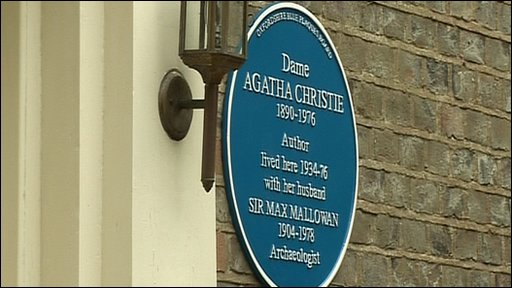 A blue plaque at Agatha Christie's former Oxfordshire home