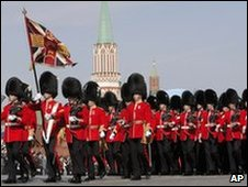 British soldiers parade through Moscow's Red Square on 9/5/2010