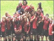 Jersey Rugby Club team celebrating their cup final win