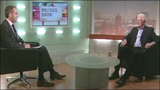Aled ap Dafydd interviewing Liberal Democrat Mike German on The Politics Show Wales on Sunday