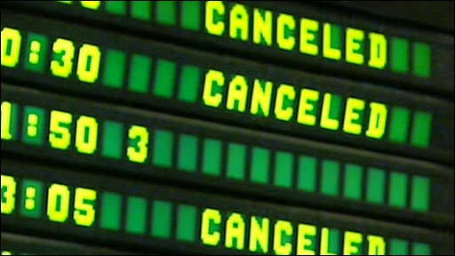 Cancelled sign in airport