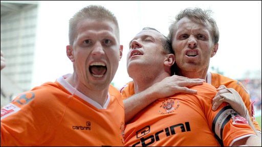 Blackpool players celebrate after their 2-1 win over Nottingham Forest