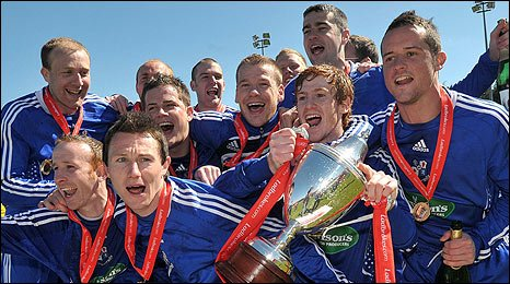Loughgall celebrate clinching the Labrokes Championship One title