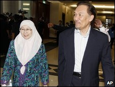 Anwar Ibrahim and his wife at court in Kuala Lumpur (10 May 2010)