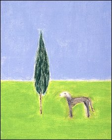Craigie Aitchison RA. Cypress Tree and Bedlington, 2005. Timothy Taylor Gallery.