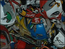 A collection of helmets at Saddam Maake's home