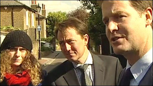 Liberal Democrat leader Nick Clegg (third from left)