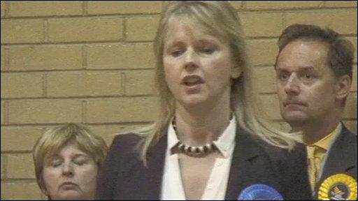 Joanne Cash making her losing speech in Westminster North
