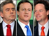 Gordon Brown, David Cameron and Nck Clegg on election night