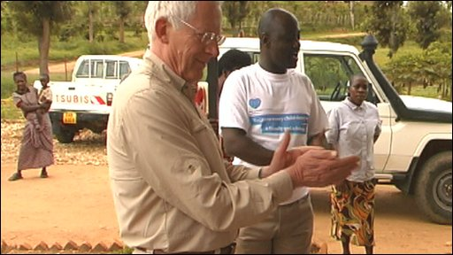 Nick Hewer visits a community centre in Rwanda