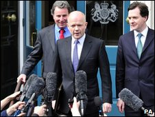 Tory negotiators Oliver Letwin, William Hague and George Osborne