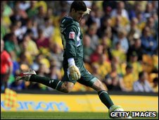 Norwich City's on-loan goalkeeper Fraser Forster