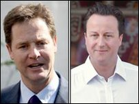 Nick Clegg a David Cameron