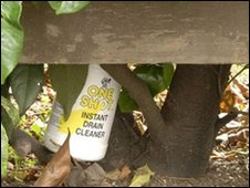 Metropolitan Police undated handout photo of of the discarded acid bottle in Marchant Road, the location of the acid attack on Awais Akram