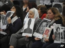 Relatives of the disappeared attending the trial of a former Argentine military ruler