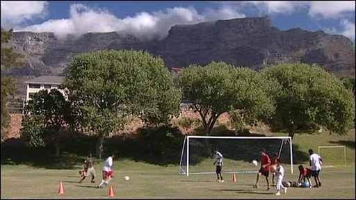 Young South Africans playing football