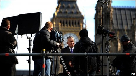 Peter Hain interviewed near the Houses of Parliament