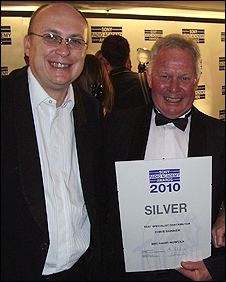 Matthew Gudgin (right) and Chris Skinner at the Sony Awards 2010