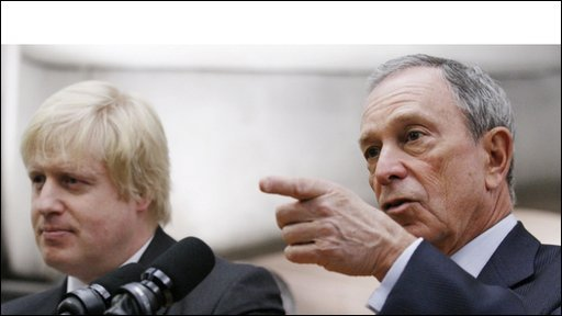 Mayor Michael Bloomberg, right, and Boris Johnson
