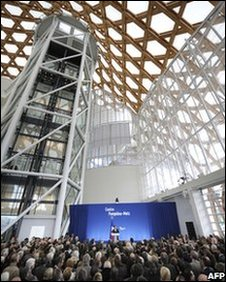 French President Nicolas Sarkozy delivers his speech during the inauguration of the new branch of the Pompidou Centre modern art museum in Metz