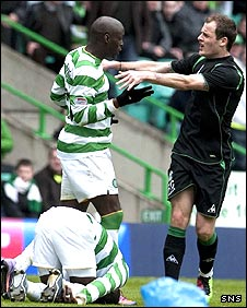 Marc-Antoine Fortune confronts Anthony Stokes after his challenge on Landry N'Guemo