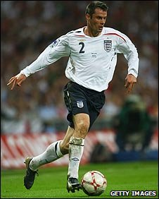 Jamie Carragher playing for England against Brazil in June 2007