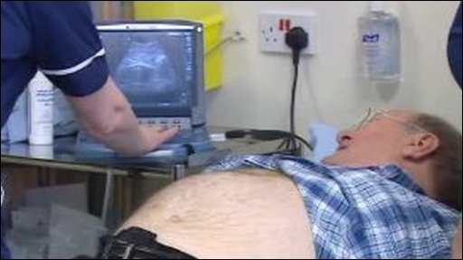 Man being screened for an abdominal aneurysm