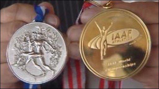 Silver medal, gold medal