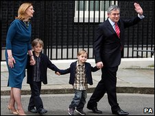 Gordon Brown, his wife Sarah and their children leaving Downing Street