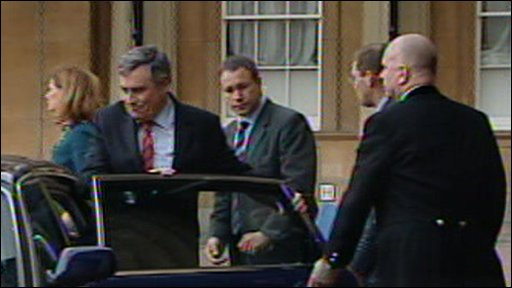 Gordon Brown leaving Buckingham Palace