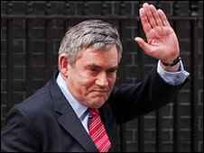 Gordon Brown leaving Downlnig Street