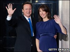 David Cameron and wife Samantha outside 10 Downing Street