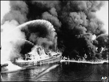 Boats battle the Cuyahoga River fire in 1969