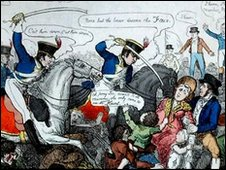 Satirical cartoon of the Peterloo Massacre, 1819