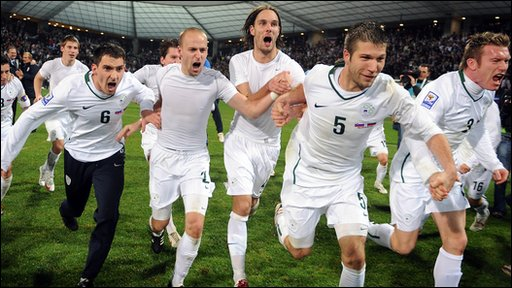 Slovenia team celebrate beating Russia