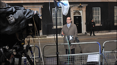 BBC chief political editor Nick Robinson outside 10 Downing Street