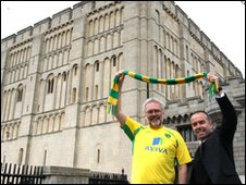 Steve Morphew (left), Norwich City Council leader, and David McNally (right) from Norwich City FC at Norwich Castle