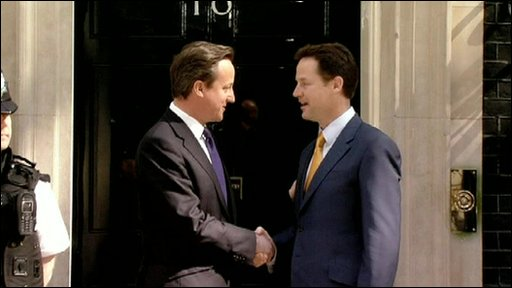 Britain's new prime minister, David Cameron and his new deputy, Nick Clegg